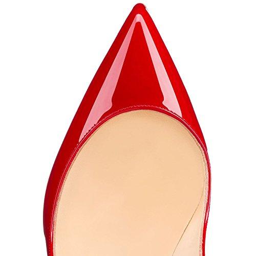 EDEFS Damen Schuhe Pumps High Heels Beige Spitze Brautschuhe mit Stilettos Absatz Rot
