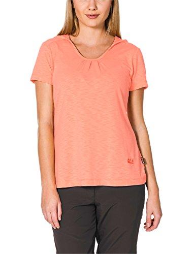 Jack Wolfskin T-Shirt à Capuche pour Femme T 2 W, pour Femme, Homme de Voyage à Capuche T 2 W XXL Apricot Pastel