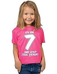 Mädchen zum 7. Geburtstag 7 Jahre alt T-Shirt - Geschenk Idee Kindergeburtstag Kindershirt Ich bin 7 …und echt cool drauf! Geburtstagsgeschenk Kinder Spruch lustig bedruckt in pink : )