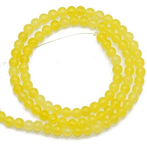 Filo Di Gemma Perline Sfuse 4mm Pietre Giada Giallo Per Collana Bracciale
