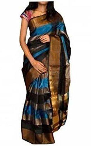 Fashion Flowerz Original Andhra Uppada Silk Sarees With Blouse For Women Multicolored Checks