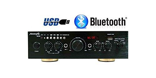 Foto de Amplificador Karaoke Bluetooth 100W + 100W Músicales Audibax Miami. Entrada 2 Micrófonos con volumen de mezcla y Echo. Radio FM .Entradas SD / USB . Mando a distancia
