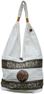 Thai bordado bolsa de hippie, diseño de elefante Marchas-100% algodón Monedero BOHO-bolsa de viaje TRIBAL (crema)