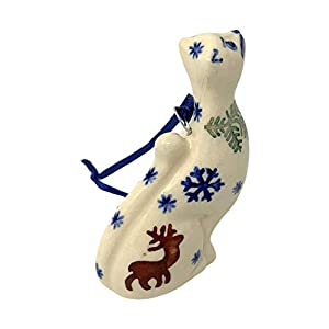 Polish Pottery Hand-Painted Reindeer Deer Pine Snowflake 3-Inch Cat Figurine Ornament