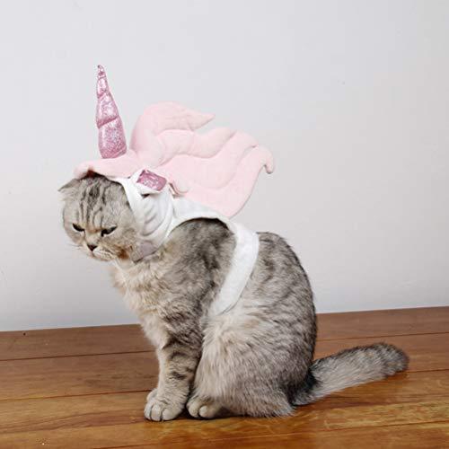 POPETPOP Katzen Kostüm für Katzen Only-Unicorn Kostüm für Katzen, Horn Kopfschmuck Birthday Party Festival Supplies Halloween Pet Kostüm Zubehör für Cat-Large