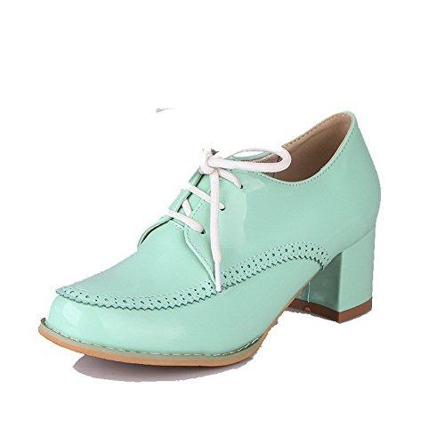 Pé Bombas Médio Do Sapatos Rendas Verdes Puro Couro Senhoras Salto Dedo Agoolar Redondo 6qwrxg6z