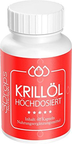 3 Drops Krillöl hochdosiert, 60 Kapseln, 1000 mg Tagesdosis in 2 Kapseln