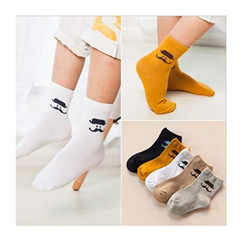 DCPPCPD Socken Kinder 5 Paar Sets Baumwolle Cartoon Winter Atmung Weichheit Komfort Midbarrel 1-12 Jahre Alt, M