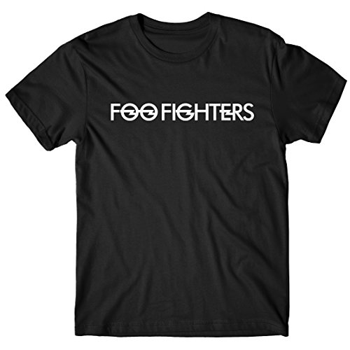 T-shirt Uomo Foo Fighters Maglietta rock band 100% cotone LaMAGLIERIA,XL, Nero