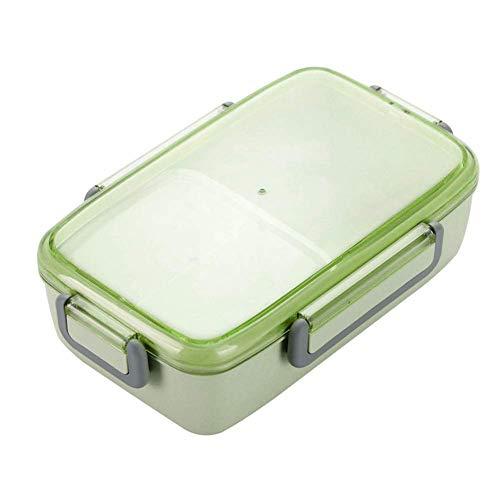 Fiambrera a prueba de fugas, caja de Bento de fibra de bambú con 2 compartimentos extraíbles, contenedor de alimentos portátil para niños y adultos, apto para lavavajillas Tamaño libre verde