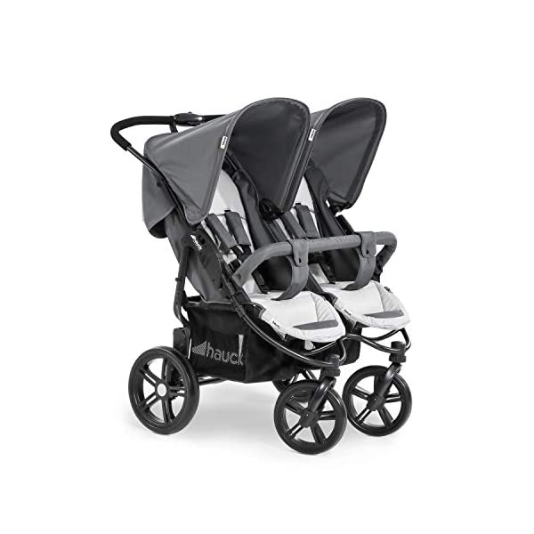 Hauck Roadster Duo SLX Double Pushchair, Grey/Silver, 14 kg Hauck Twin and sibling stroller suitable for two children or new-borns by combining it with the separately available hauck 2 in 1 carrycot, this pushchair holds 2 x 15 kg Fits through doors despite the children sitting side by side, roadster duo slx fits through doors and elevators as it measures 76 cm only Comfy both backrest and footrest come with sun hood, as well as large shopping baskets and are individually adjustable up to lying position; the pushchair is easy to fold away with one hand 1