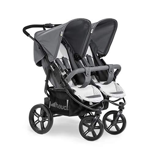Hauck Roadster Duo SLX Geschwister- und Zwillingskinderwagen bis 36 kg für Babys und Kleinkinder ab Geburt, nebeneinander, schmal, schnell faltbar, große Räder, grau
