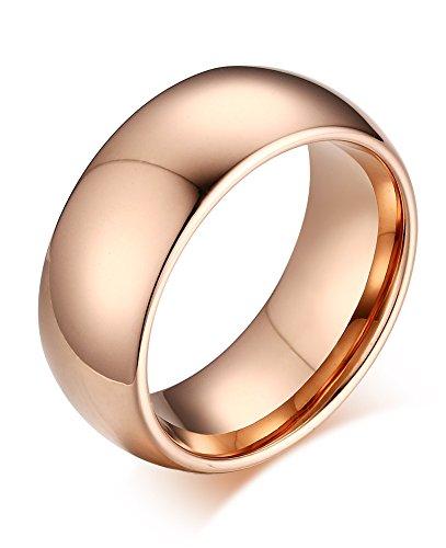Vnox gioielli 8 millimetri delle donne degli uomini di alta polacco carburo di tungsteno comfort fit bombato fede nuziale,oro rosa