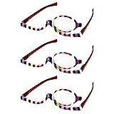 Zhhlinyuan 3 Paare Vergrößerung Single Linse Brille zum Lesen Kosmetik Bewerbung - Multi Streifen Frau Schönheit Brille