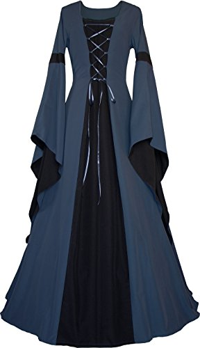 Billig Mittelalterliche Kostüm - Dornbluth Damen Mittelalter Kleid Johanna Indigo (36/38, Indigo-Schwarz)