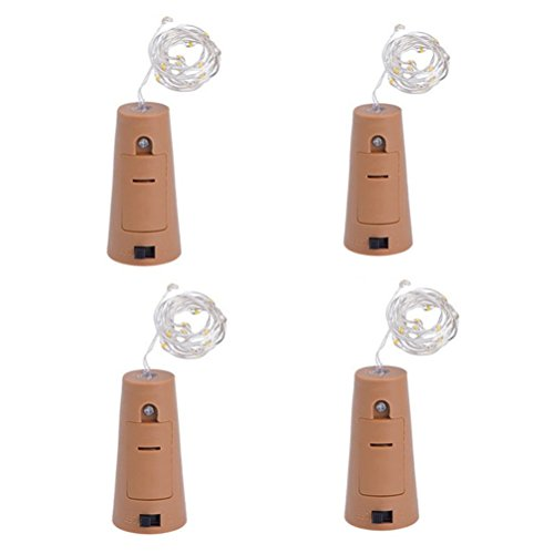 (ledmomo 4UNIDs 75cm 15LED Licht Wein-Flasche Licht Weihnachts-Feen mit Kabel für die Dekoration der Hochzeit (weiß))