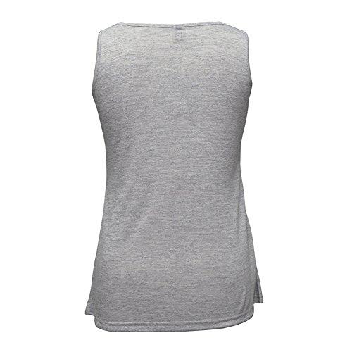 Damen Lose ärmellosen Weste Bluse Lässige Tank Tops Hemden T-Shirt Grau