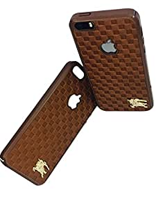 KTC 4 CUT Leather Case checks Pattern with logo Premium Leather Luxury Protective Designer Back Cover for Apple I pphone 5s BROWN