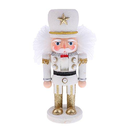 MagiDeal Casse-noisettes Figurine écossais Peint Main Bois Père Noël Ornement Collection Cadeau - Blanc