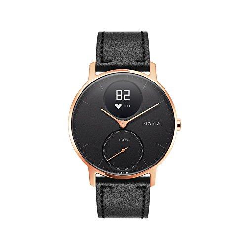 Withings Steel HR Hybrid Smartwatch - Fitnessuhr mit Herzfrequenz und Aktivitätsmessung  , 36mm - Schwarze, schwarze Lederriemen und Schwarz Silikon