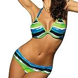 iYmitz Damen Blumen Bohemian Bademode Beachwear Frauen Gedruckt Bikini Badeanzug Schwimmanzug Tops Surfanzug(Grün,EU-36/CN-M)