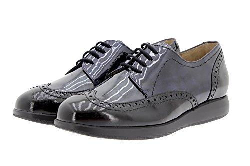 Scarpe donna comfort pelle PieSanto 9630 scarpe con condoncino comfort larghezza speciale Negro-Gris-Marino