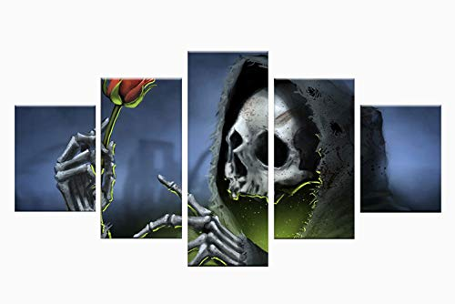 hibia Skelett Wandbild Halloween Teufel Dekoration Requisiten Wandaufkleber, Gelten Für Halloween, Todestag, Tanzparty, Dekoration, 5 Panels, Rahmenlos,L