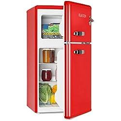 Klarstein • Nevera combi • Nevera retro • Nevera de 61 litros • Congelador de 24 litros • Emisión de 40 dB • 2 baldas • 2 compartimentos en la puerta • Para familias pequeñas y solteros • Rojo