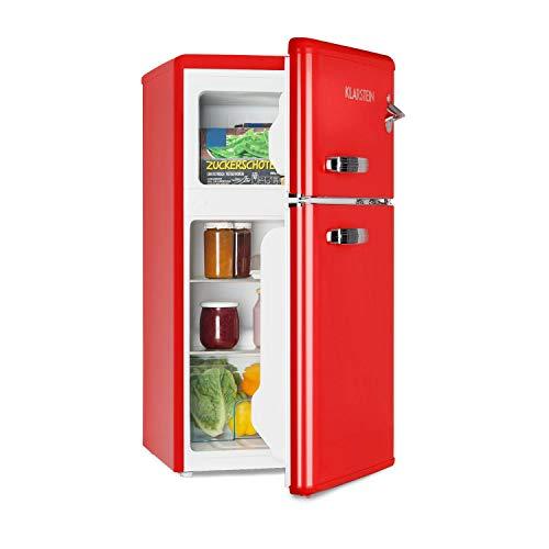 Klarstein Irene • Kühl- & Gefrierkombination • Retro Kühlschrank • 61 L Kühlfach • 24 L Gefrierfach • 40 dB leise • 2 Kühlebenen • 2 Türablagen • für Kleinfamilien und Singles • rot