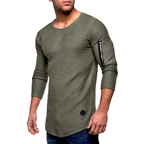 Maglia a maniche lunghe da uomo,sonnena t-shirt manica lunga da uomo t-shirt con cuciture a girocollo a righe top casual da uomo con cerniera blusa pieghevole tinta unita