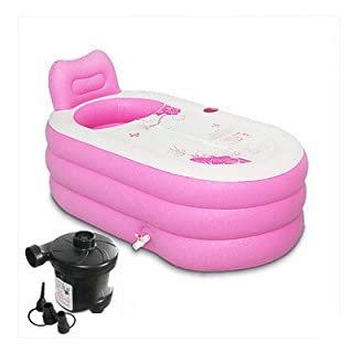 MBJZ Shower and Bath and a warm bath bucket inflatable bathtub thick adult bath tub, pink,130*82*73cm