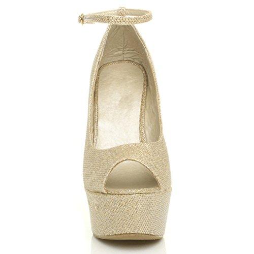 Damen Hohe Keilabsatz Knöchelriemen Peep Toe Pumps Plateauschuhe Sandalen Größe Gold Glitzern