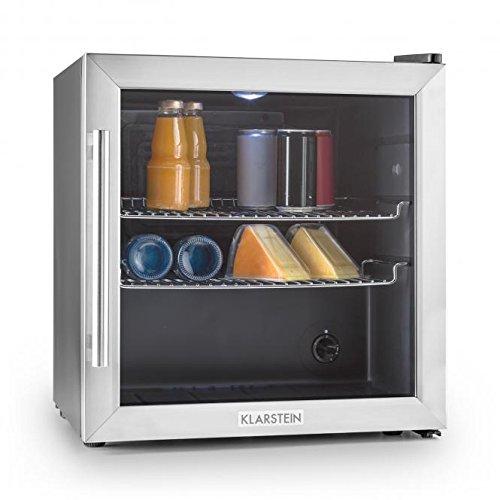 Klarstein Beersafe L • Minibar • Mini-réfrigérateur • Réfrigérateur à boissons • A+ • 50 Litres • Faible bruit de fonctionnement • 42 dB • Acier inoxydable • Noir-Argent
