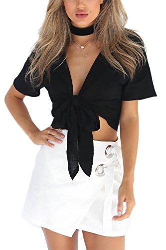 Frauen Ist Sommer Pflanzliche Höchstens Kurze Ärmel V - Krawatten - T - Shirt Black