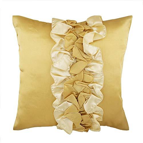 The HomeCentric Gold Euro-Kissenbezüge, 65x65 cm Euro Shams, Vintage Style Rüschen Shabby Chic Euro Shams, Satin Euro-Schein, Solide Modern Euro Shams - Vintage Honey -