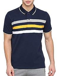 36685239e BULLMER Men's Half Sleeve Polo Neck Cotton T-Shirt - BUL-BFE420B - Navy