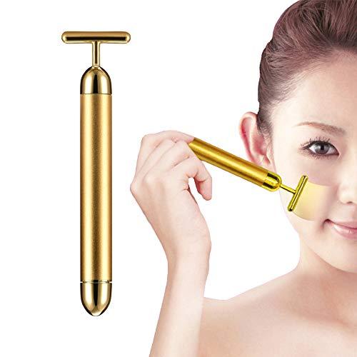 Anti-falten-und Straffende Behandlung (XDXDO Golden Beauty Bar Massagegerät Energie Schönheit Gesicht Straffende Gesichtsmassage Anti-Falten-Behandlung T-Form wasserdichte elektrische Gesichtswangen Hautstraffung)