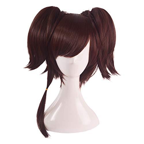 Ydxnbgcjm Jugend Mädchen Perücke Cosplay Perücke Doppel Pferdeschwanz Kurze Haare für namenlose (Color : Brown)