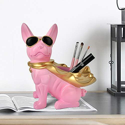 Geometrie Bulldog Stift Fall Ornamente, Hund Bleistifthalter Büro Studie Desktop Schreibwaren Veranstalter, Handwerk Stift Container Aufbewahrungsbox, kreatives Geschenk (Color : Pink) Bulldog-handy-fall