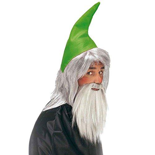 Zwerg Set grün Zwergenmütze mit Haaren und Bart Verkleidung für Zwerge Trolle Wichtel Gnome Gartenzwerg Mütze mit Perücke und Vollbart Märchen Fantasy Elfen Set Fasching Weihnachten Halloween Party Karneval Kostüm Zubehör