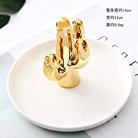 Zinniaya Cross-border exclusive Nordic gold-plated cactus ceramic jewelry plate Jewelry ring storage rack Creative home decoration