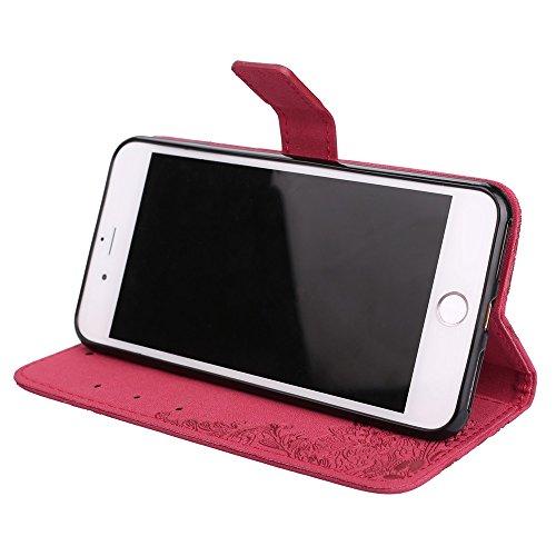 Hülle für iPhone 7 plus , Schutzhülle Für IPhone 7 Plus, Retro PU Leder Schutzhülle Emobssed Phenix Blumen Fall mit glänzenden Resin Rehinestone & Lanyard & Kickstand & Card Slots ,hülle für iPhone 7  Red