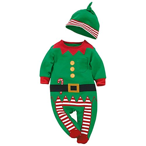 Baby Strampler + Mütze Weihnachts Xmas Kostüm Jungen Mädchen Infant Outfits Bekleidung Schneemann Christmas Weihnachtsmann (Weihnachtsmann Kostüm Für Baby Jungen)