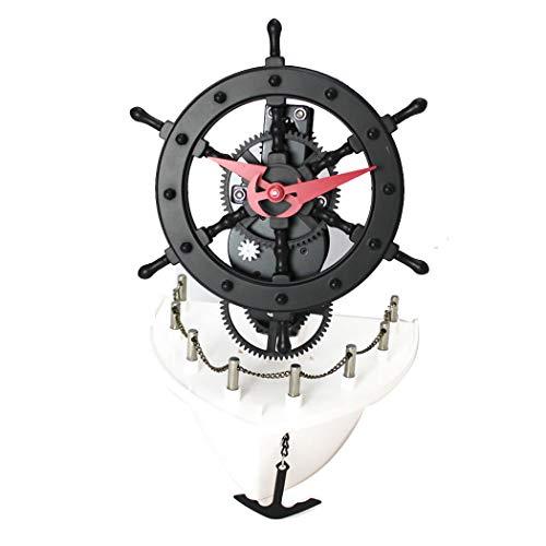 HONGNA Kreative Automatikuhren Für Segelboote Europäische Retro-Dampferuhren Piratenschiff Und Rudermodellierungspendeluhren Aus Kunststoff 18 * 15,7 * 25 cm (größe : 18 * 15.7 * 25 cm)