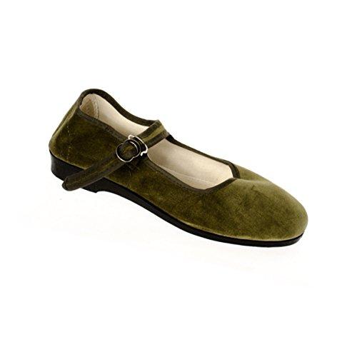 Sonnenscheinschuhe® - Bailarinas de Terciopelo para Mujer Verde Verde Oliva 42, Color Verde, Talla...