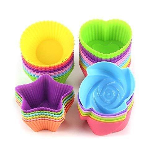 Silikon-Backförmchen für Cupcakes, wiederverwendbar, antihaftbeschichtet, leicht zu reinigen, 4 Formen, rund, Sterne, Herz, Blumen, 24 Stück, bunt (Folie Herz-backförmchen)