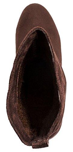 Elara Damen Schlupfstiefel | Bequeme Klassiche Stiefeletten | Flache Boots Braun New