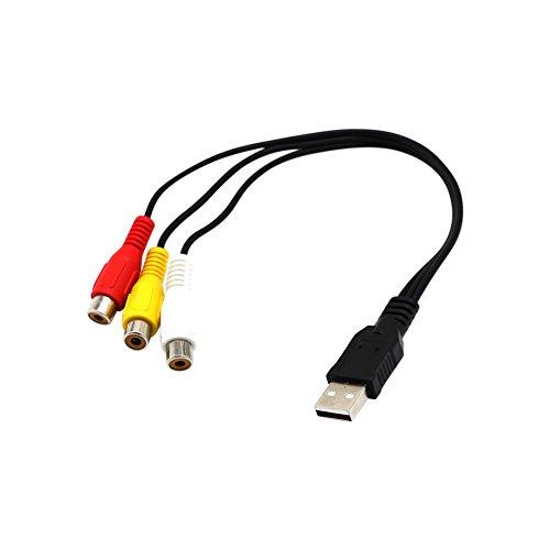 ROKOO USB Stecker auf 3 RCA Buchse Adapter Audio Kabel Video Converter AV Kabel für HDTV TV -