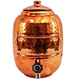 [Sponsored Products]Parijat 13 Ltr ,Hammered Copper Water Dispenser Container Pot Matka, Storage Water, Kitchenware