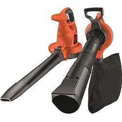 BLACK+DECKER GW3030-QS Aspirateur, Souffleur, Broyeur de feuilles filaire - Volume d'aspiration : 14 m3/min - Capacité : 50 L - 1 embout concentrateur et 1 sangle 3000W, Rouge/Noir,